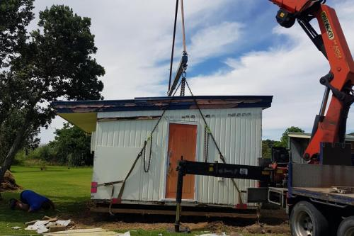 6m wide classroom moved onsite at Kaiaua