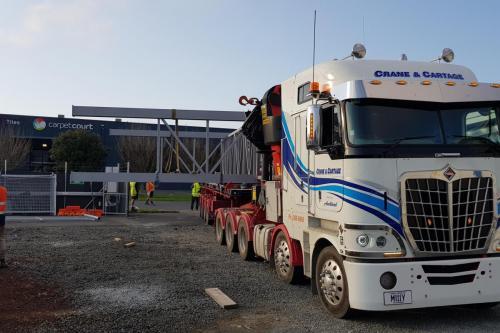 7m wide pipe bridge moved onsite at Fonterra Takanin
