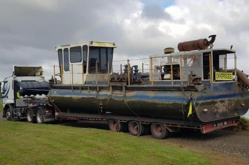 Dredging barge from Pukekohe to Taharoa, Waikato