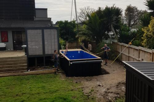 Moving a container pool onsite at Bucklands Beach